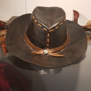 Accessories - Black leather cowboy hat with brown trim